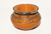 Der orientalische Aschenbecher XL-Orange wird in Marokko von ausgewählten Künstlern hergestellt. Windaschenbecher erhältlich bei El-Fesi / Oriental Art Decor.