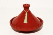 Die traditionelle glasierte Tajine Deko-Rot wird in Marokko hergestellt. Marokkanische Tajine Deko kaufen im Onlineshop von El-Fesi / Oriental Art Decor.